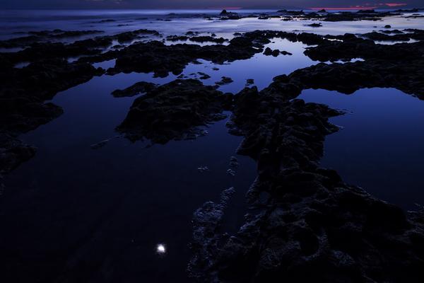 根本海岸の岩礁と、潮だまりに映る月