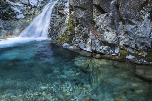 反下川の碧い水