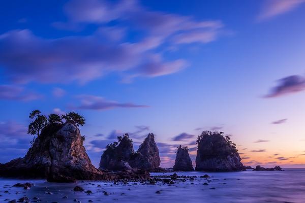 蓑掛岩の夕暮れ