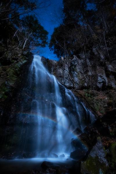 八岳の滝、月虹