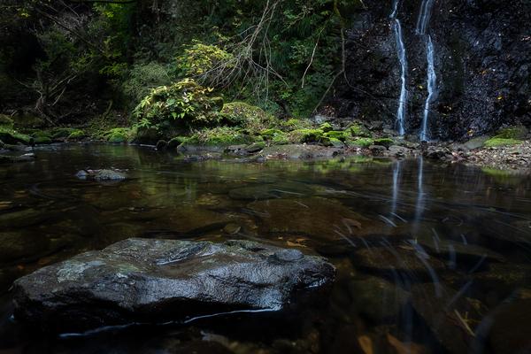 穏やかな平沢川とせせらぎの滝